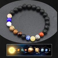 男性と女性愛好家のためのビーズ2020新しい宇宙の銀河系太陽系惑星の星座ブレスレット瑪瑙