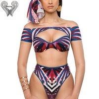 Kapalı Omuz Mayo Yüksek Waisted Bikini Set Kısa Kollu Mayo Kadın 2019 Yaz Mayıs Biquine Plavky Kadın Banyo Takımları T200509