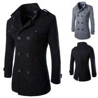 Uomini inverno cappotto di lana nuovo uomo nuovo di alta qualità colore solido semplice miscele di lana pisello cappotto maschile trinch tovaglio casual 2020