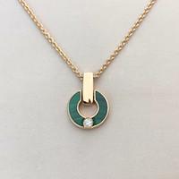 Colar de diamantes Coração colar de ouro moda moda natural malaquite letra pingente com diamantes presentes jóias mulheres para casais