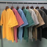 Terry-lavado vestuário T-shirt de manga curta t-shirt de algodão pesado streetwear oito cores