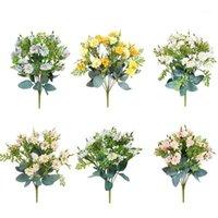 Hvayi Decorazione autunnale 7branch giallo margherita seta fiori artificiali fiori bouquet per la casa ufficio nozze party giardino decorazione1
