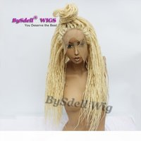 합성 금발 컬러 Dreadlock 꼰 레이스 프론트 가발 상자 꼰 머리 더러운 dreadlock 머리 흑인 여성을위한 프런트 가발