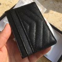 Doskonała jakość Czarny Kawior Posiadacze Karta Mężczyźni Kobiety Lambskin Holder Karty Prawdziwej Skóry Mini Lattice Karta kredytowa Uchwyt z pudełkiem