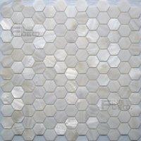 Couleur blanche et naturelle Côte d'eau douce Mother of Pearl Mosaïque Tuile Hexagon Forme pour la décoration de la maison d'intérieur