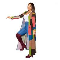 Color de la zanja de las mujeres Color Glot Patchwork Fashion Lady Cardigan Coat Funda de manga llena Primavera Otoño Casual Flojo Trench1