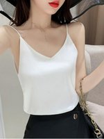 Polos femininos camis mulheres mulheres v-pescoço colheita verão senhoras colete imitação tops sem mangas seda casual blusas tanque sólido