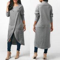 Damen Hoodies Sweatshirts Zanzea 2021 Asymmetrisches Kleid Herbst Casual Langarm Pullover Zipper Midi Vestidos Plus Größe
