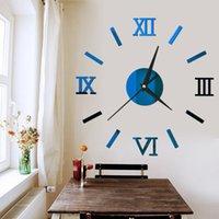 الأرقام الرومانية diy ساعة ديكور المنزل غرفة المعيشة المرايا 3d مجسمة لصق جدار الديكور الساعات متعدد الألوان جديد 6YYA F2