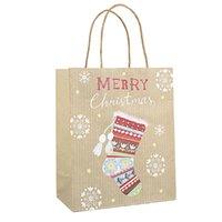 크리스마스 선물 크래프트 종이 가방 크리 에이 티브 브론 징 귀여운 만화 크리스마스 포장 토트 백 YYB2675