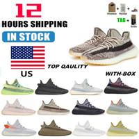 ABD'de stok 2021 Kanye West Mens Womens Koşu Ayakkabıları Cinder Zebra Kuyruk Işık Yansıtıcı Kadın Spor Sneakers Boyutu 36-48 Yarı