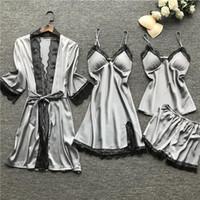 여성용 잠옷 란제리 여성 실크 레이스 로브 드레스 Babydoll Nightdress 잠옷 섹시한 속옷 세트
