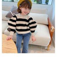 Neueste Kinder Jungen Pullover Ins Kleine Mädchen Streifen Pullover Puffhülse Herbst Mode Schöne Unisex Kinder Kleidung 1-4t