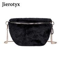Jierotyx поддельных меховых меховых меховых сумки для женщин передняя молния черный белый Crossbody сумки 2020 дизайнер высокого качества падение