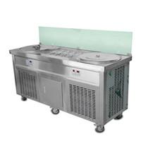 """Kommerzielle US EU-EU-Doppel-Eis-Pans-22 """"Gebratene Eismaschine Eisrolle mit 10 Kühl-Eimern, Sneeze-Garde"""