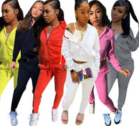 Femmes Vêtements Mode 2 pièces Ensemble Veste Sportswear + Pantalons Lettre Jogger Costume Fermeture à glissière Tenue à glissière automne Hiver Solid Color Tracksuit 3887