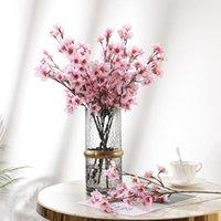 장식 꽃 화환 DIY 플라스틱 가짜 꽃 꽃다발 매화 꽃 분기 실크 웨딩 장식 인공 시뮬레이션 복숭아 홈 장식 1
