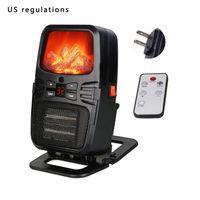 Mini Simulación 3D Llama Calentador eléctrico Caliente rápido Aire acondicionado Portátil Aire acondicionado Hogar Calentador de escritorio EU / EE. UU. Con control remoto
