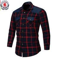 Fredd Marshall outono botão duplo para baixo bolsos camisa xadrez manga longa camisa casual camisa masculina regular ajuste plus size lj200925