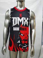 영화 남성 자수 DMX 유니폼 어두운 남자 X 스포츠 농구 착용 힙합 스트리트 셔츠 땀 탑스