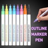 더블 라인 펜, 8 색 반짝이 마커 펜 선물 카드 쓰기, 그림, DIY 아트 공예 201102 용 형광 개요 펜