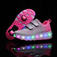 Risrich Детские Светодиодные Ролики Спортивные Обувь Светящиеся Светящиеся Света USB Кроссовки с Колесами Детские Ролики Казатья Обувь для мальчика Девочек 201120