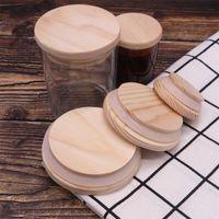 خشبية ميسون جرة أغطية 8 أحجام البيئية قبعات زجاجة الخشب قابلة لإعادة الاستخدام مع سيليكون حلقة الزجاج زجاجة ختم غطاء الغبار غطاء