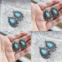 Donne Inlay Inlay Turchese Eardrop gioielli Goccia d'acqua Goccia a forma di pera Retro Moda Lady Plated Silver Dangle Orecchini Nuovo modello 1 9SP J2