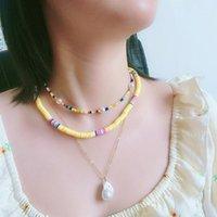 Chokers 3 pezzi Boho collane per le donne polimeriche argilla perline di semi di argilla Strand choker perla pendente collana set moda gioielli regalo1