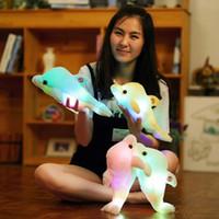 플러시 인형 32 cm Kreative Leucht Plüsch Delphin Puppe 빛나는 키스, Bunte LED-Licht Tier Spielzeug Kinder Geschenk
