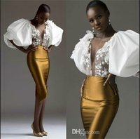 Bainha de ouro vestido de noite sul africano manga exagerada pura garganta applique vestido vestido de noite vestido vestido de coquetel de soirée