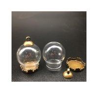 500 set 20 * 15mm Globes di vetro con metalli di rame di rame di metalli Base perline tappo set flaconcini pendenti wishing bottiglia di vetro monili monili monili monili monili SQCPLK