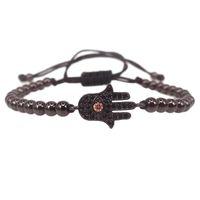 Charm Bracelets Mens Hamsa Pulsera, Micro Pave Black CZ Cable Conector Mano trenzado Macrame Macrame Oall Pulsera Joyería