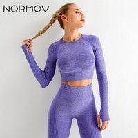 NORMOV Women Seamless Yoga Set Fitness Sports Suits Gym Clothing Long Sleeve Crop Top Shirts High Waist Running Leggings Workout