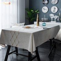 Гордая роза Новый Nordic Linen Diamond-Foreged Геометрическая Вышитая Водонепроницаемая Скатерть Квадратный полотенце Ткань LJ201223