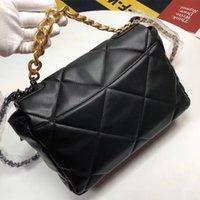 여성 핸드백 양고기 가죽 가방 럭셔리 디자인 여성 가방 클래식 패션 지갑 대형 30cm 골드 체인 크로스 바디 지갑