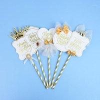 Siyah Beyaz Kral Taç Mutlu Doğum Günü Pastası Topper DIY Cupcake Üst Bayraklar Için Parti Dekorasyon Pişirme Dekorasyon Malzemeleri1