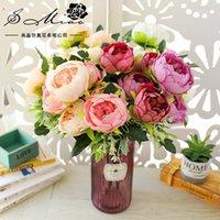 7-Piece Testa Pittura ad olio Peonia Stile europeo Imitazione fiori, boquet da sposa Pianta artificiale Pianta artificiale Flower1