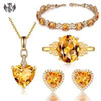 Fashion Piccolo Braccialetto di Citrino fresco 18K Golden Diamond Ring Giallo Sapphire a forma di cuore Orecchini a forma di cuore Semplice collana di amore