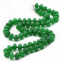 Moda Doğal Taş Kolye Kadınlar Için Yeşil Malezya Jades Gerdanlık Chalcedony 5x8mm Boncuk Strand Chian Kolye Takı A6561