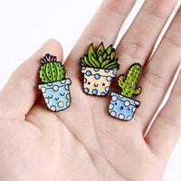 Broche de dibujos animados serie de plantas en maceta Cactus Accesorios encantadores Insignia Pin Personalidad Ornamentos Ornamentos Venta caliente de alta calidad 1 5BL M2