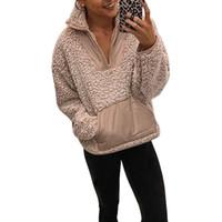 패션 따뜻한 봉제 스웨트 여성 가을 / 겨울 새로운 솔리드 컬러 풀오버 스티치 지퍼 스탠드 칼라 까마귀 의류 탑스