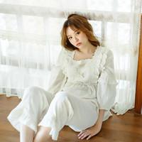 Missyou Милые женские Лолита Пижама наборы хлопчатобумажные Урочные Урожай Женская Девушка Кружева Pajamas SetVictorian Sleekwear Weargeew1