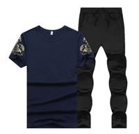 Летние мужские спортивные спортивные трексуиты печатные стройные крутые короткие рукава футболки с бегущими брюками повседневный костюм