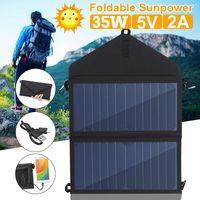 Pliante 35W Panneau solaire Sun Power Power Outdoor Cellules solaires Chargeur 5V 2A Périphériques de sortie USB portables Panneaux solaires pour smartphones LJ200903