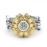 Eheringe Kristall Weibliche Sonnenblume Verlobungsring Niedlichen Luxus Silber Farbe Liebe Schmuck Versprechen Zirkon Stein Für Frauen