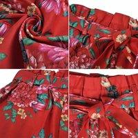 النساء السراويل السيدات شاطئ الصيف حزام الأزهار طباعة الأزياء جيوب أنيقة KG-1037