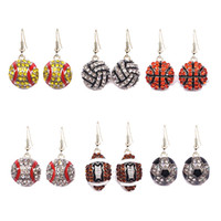 Fashion Sport Softball Baseball Earrings Stud Crystal Rhines...