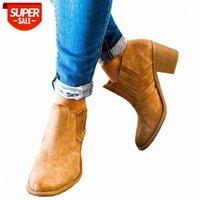 2019 Новые Женские Boots Boots Блокировка Высокие каблуки Ботас Запатос Мухеер Ретро Кожаные Зимние Обувь Женщина Плюс Размер Вереток Ковбойские Сапоги # 6Z8P