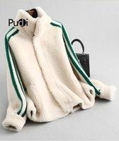 Pudi женщин зимой настоящий шерсти шерсти над размером парку теплый пиджак мех девушка пальто леди короткая куртка над размером Parka A59360 210203